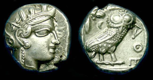 Ancient Coins - Attica.  Athens.  Ar tetradrachm.  C. after 449 BC.
