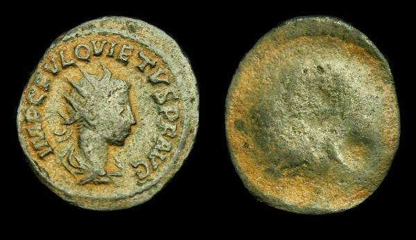 Ancient Coins - Quietus.  Ae ant brockage.  C. 260-261 AD.  SCARCE.