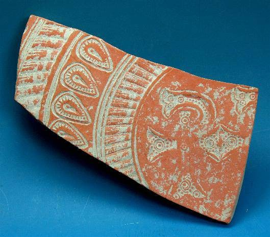 Ancient Coins - Late Roman red ware sherd decorated with Christogram.  C. 4th-5th century AD.