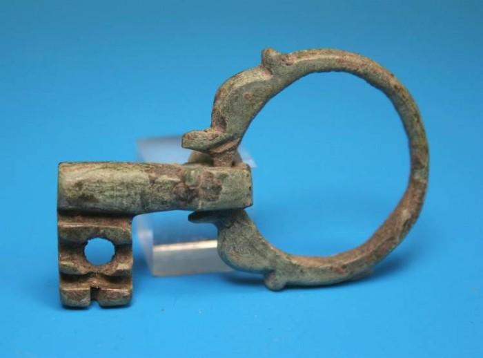 Ancient Coins - Super Byzantine swivel/folding bronze key.   C. 6th-7th century AD.