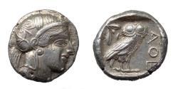 Ancient Coins - Attica.  Athens.  Ar Tetradrachm.  C. 479-404 BC.  Pleasing Coin