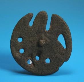 Ancient Coins - Medieval bronze 'Mystical beast' mount.  C 13th century.  Super detail.