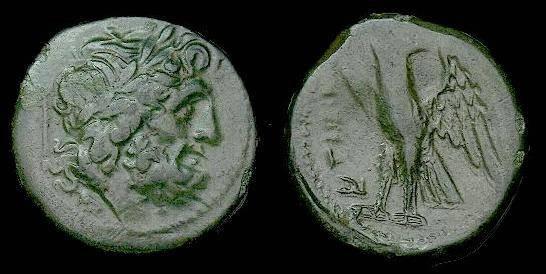 Ancient Coins - Italy.  Bruttium.  Bretti.  Ae uncia.  216-214 BC.  Glossy patina.