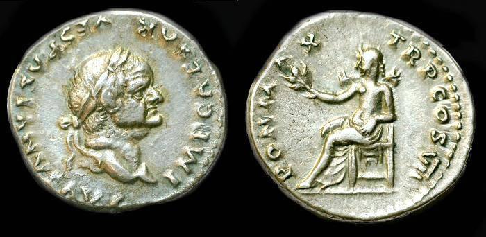 Ancient Coins - Vespasian.  Ar denarius.  C. 75 AD.  Super detail.