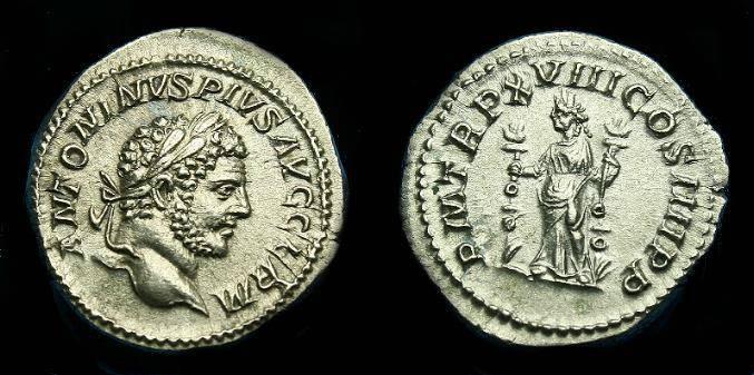 Ancient Coins - Caracalla.  Ar denarius.  215 AD.  Nice coin.
