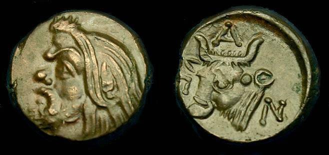 Ancient Coins - Thrace.  Pantikapaion.  Ae 17.  375-300 BC.  Super detail.
