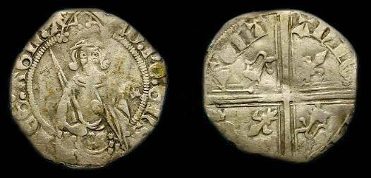 Ancient Coins - Edward Black Prince.  Ar hardi.  1362-1372.  Scarce type.
