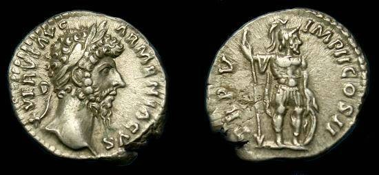 Ancient Coins - Lucius Verus.  Ar denarius.  138-192 AD.  Mars.