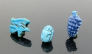 Ancient Coins - THREE EGYPTIAN AMARNA BEADS & AMULETS