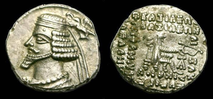Ancient Coins - Parthian.  Phraates IV.  Ar drachm.  C. 38-2 BC.  Ecbatana mint.  Superb coin.