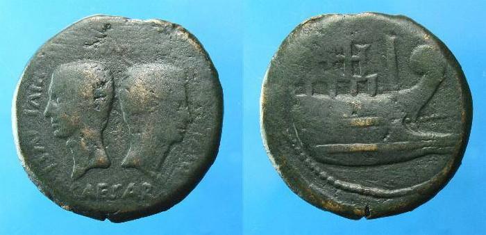 Ancient Coins - Octavian & Julius Caesar.  Ae dupondius.  Gaul.  Col Viennensis.  C.  36 BC.  SCARCE.