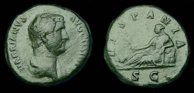 Ancient Coins - Hadrian.  Ae as.  117-138 AD.  Rare HISPANIA reverse.