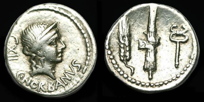 Ancient Coins - C Norbanus.  Ar denarius.  C. 83 BC.