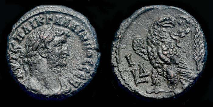 Ancient Coins - Gallienus.  Ae tetradrachm.  C. 266-267 AD. Year 14.  Alexandria mint.