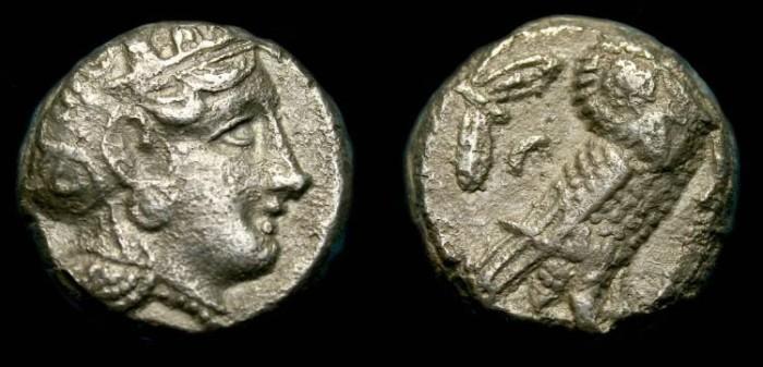 Ancient Coins - Athens.  Attica.  Ar tetradrachm.  380-305 BC.  No test cuts.