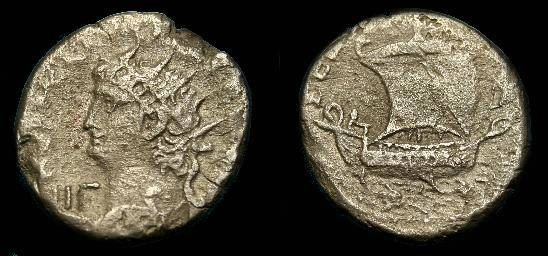 Ancient Coins - Nero.  Billon tetradrachm.  54-68 AD.  Rarer reverse type.