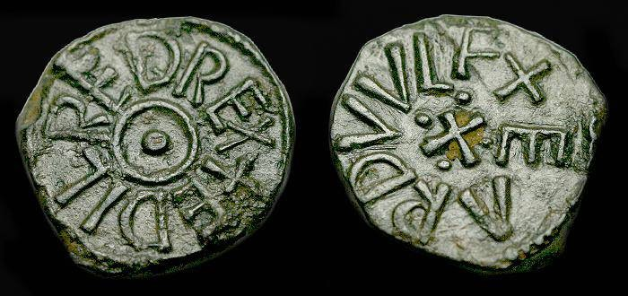 Ancient Coins - Saxon.  Aethelred II.  Ae styca.  C. 843-850 AD.  Second reign.  SCARCE.