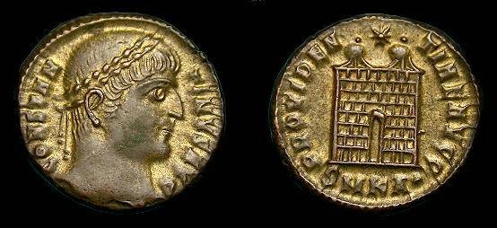 Ancient Coins - Constantine I.  Ae3.  307-337 AD.  Unusual gold tone.