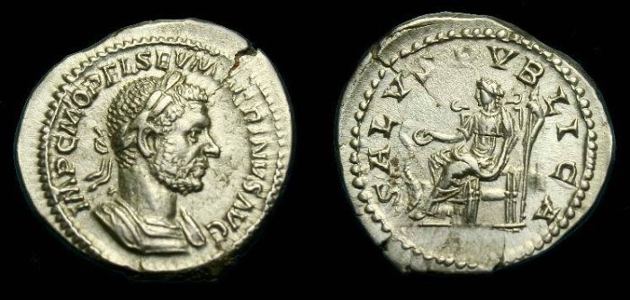 Ancient Coins - Macrinus.  Ar denarius.  217-218 AD.  Nice detail.