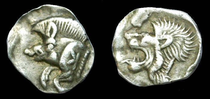 Ancient Coins - Mysia.  Kyzikos.  Ar Hemiobol.  C. 480-450 BC.  SCARCE.