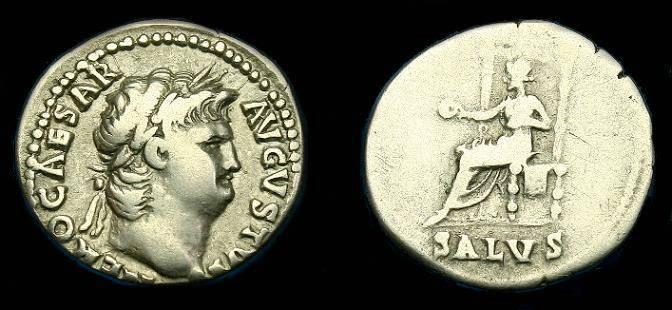Ancient Coins - Nero.  Ar denarius.  66-67 AD.  Pleasing coin.