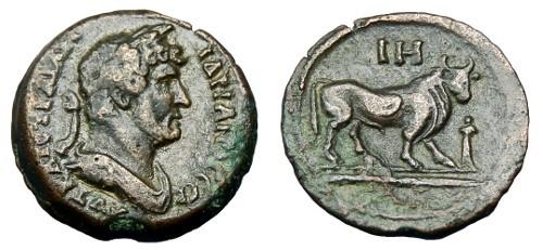 Ancient Coins - HADRIAN AE DIOBOL ALEXANDRIA MINT YEAR 18
