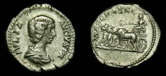 Ancient Coins - Julia Domna.  Ar denarius.  199-207 AD.  Scarce type.