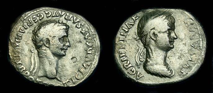 Ancient Coins - Claudius and Agrippina Jnr.  Ar denarius.  51 AD.  Very rare type.