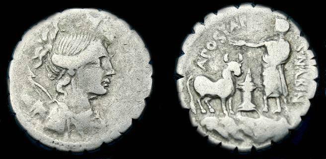 Ancient Coins - A Postumius Af Sn Albinus.  Ar denarius.  81 BC.  Scarce type.