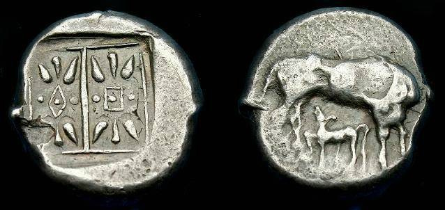 Ancient Coins - Corcyra.  Ar stater.  500-450 BC.  Scarce coin.