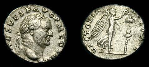Ancient Coins - Vespasian.  Ar denarius.  69-79 AD.