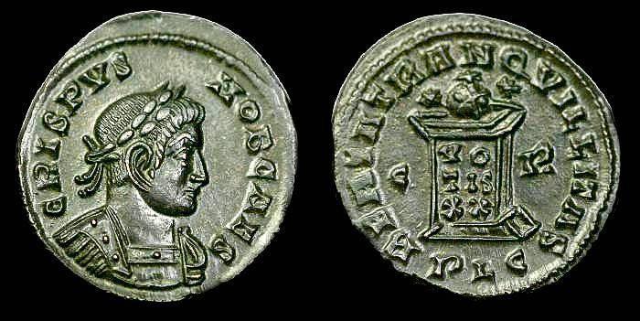 Ancient Coins - Crispus.  Ae 3.  C. 321 AD.  Superb detail.