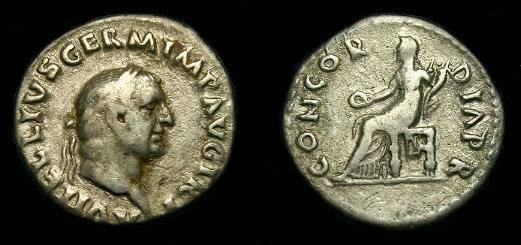 Ancient Coins - Vitellius.  Ar denarius.  69 AD.  Scarce.
