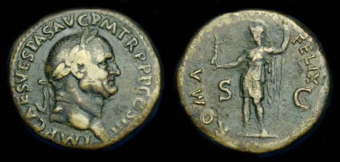 Ancient Coins - Vespasian.  Ae sestertius.  69-79 AD.  Good detail.