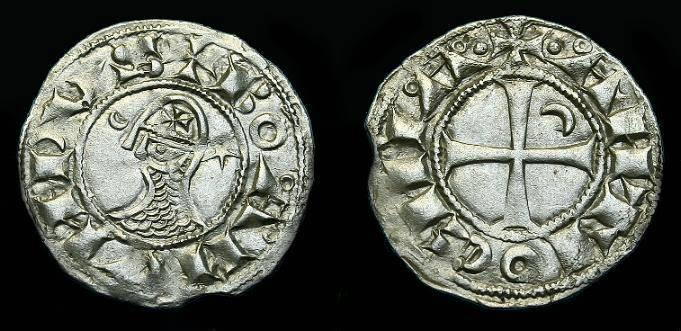 Ancient Coins - Bohemund III. Ar denier. 1149-1201. Nice detail.