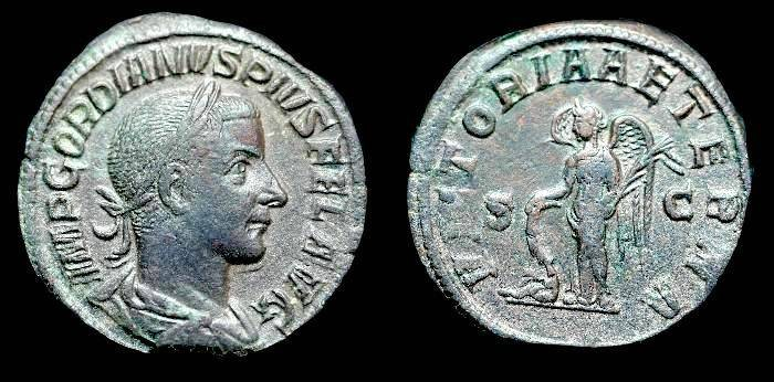 Ancient Coins - Gordian III.  Ae sestertius.  C. 243-244 AD.  Super detail.