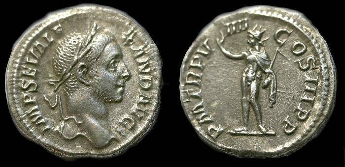 Ancient Coins - Severus Alexander.  Ar denarius.  C. 230 AD.  Superb detail.