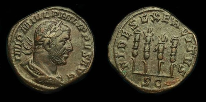 Ancient Coins - Philip I.  Ae sestertius.  244-249 AD.  Pleasing coin better reverse type.
