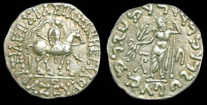 Ancient Coins - Azes I.  Ar tetradrachm.  C. 58-19 BC.