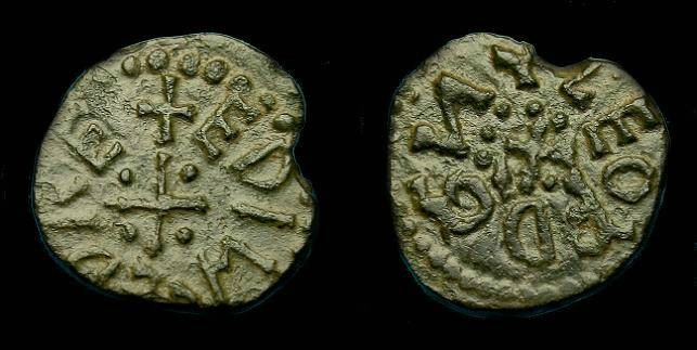 Ancient Coins - Kings of Northumbria.  Athelred II.  Ae styca.  841-844 AD.  Nice example.