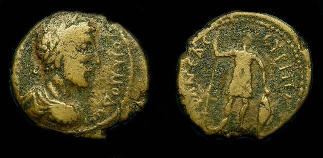 Ancient Coins - Commodus.  Ae 20.  Samaria.  Neapolis.  177-192 AD.  Scarce.