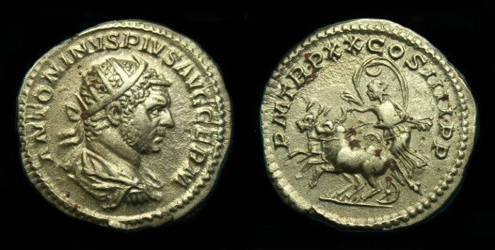 Ancient Coins - Caracalla.  Ar ant.  217 AD.  Rarer type and super detail.