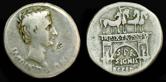 Ancient Coins - Augustus.  Ar cistophorus.  C. 19-18 BC.  RARE.