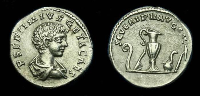 Ancient Coins - Geta.  Ar denarius.  199-200 AD.  Super coin.