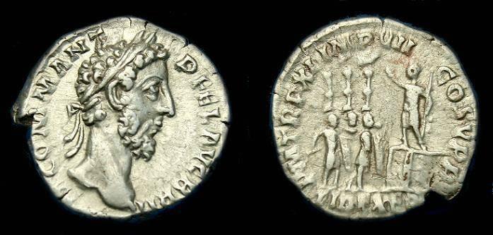 Ancient Coins - Commodus.  Ar denarius.  186 AD.  Interesting type.