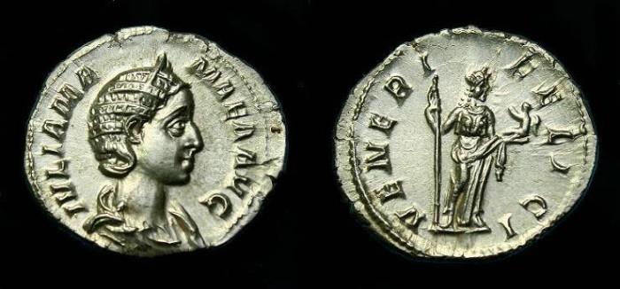 Ancient Coins - Julia Mamaea.  Ar denarius.  224 AD.  Super quality.