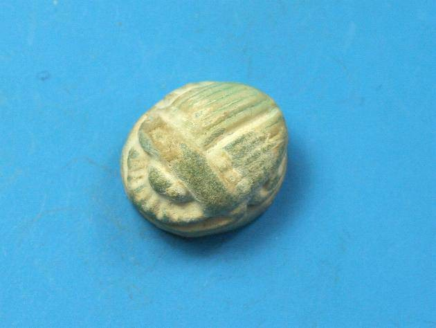 Ancient Coins - Phoenician Faience scarab amulet.  C. Roman period; 2nd-3rd century AD.