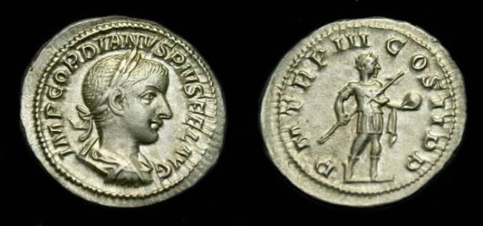 Ancient Coins - Gordian III.  Ar denarius.  238-244 AD.  Nice coin.