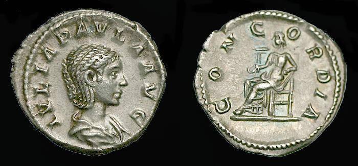 Ancient Coins - Julia Paula.  Ar denarius.  C.  220 AD.  Pleasing coin.