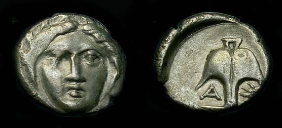 Ancient Coins - Thrace,  Apollonia.  Ar diobol.  400 BC.  Nice detail.